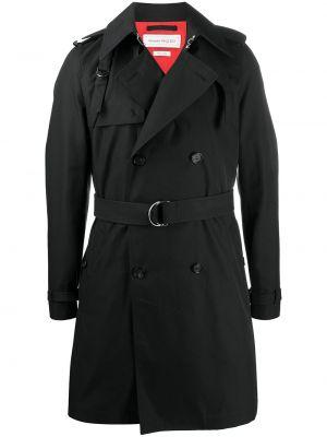 С рукавами черное длинное пальто двубортное Alexander Mcqueen