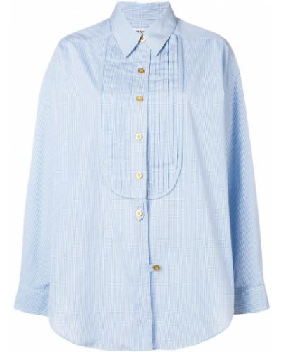 Рубашка с длинным рукавом в клетку ретро Chanel Vintage