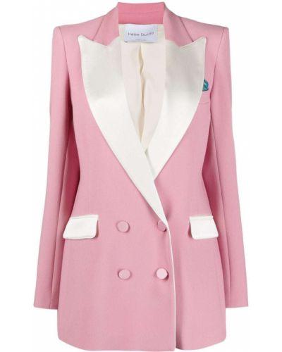 Розовый удлиненный пиджак двубортный с воротником Hebe Studio