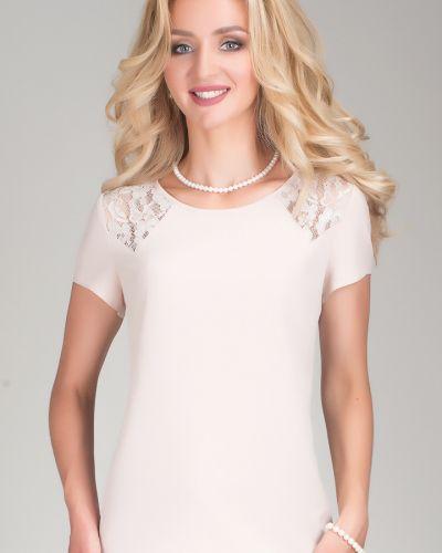 Блузка с коротким рукавом кружевная из вискозы Open Fashion Premium