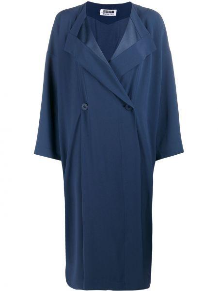 Прямое свободное синее пальто на пуговицах 132 5. Issey Miyake