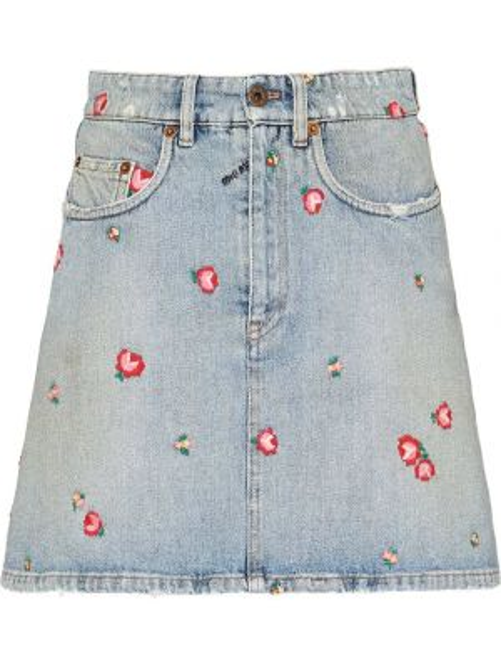 Синяя классическая джинсовая юбка с вышивкой с поясом Miu Miu
