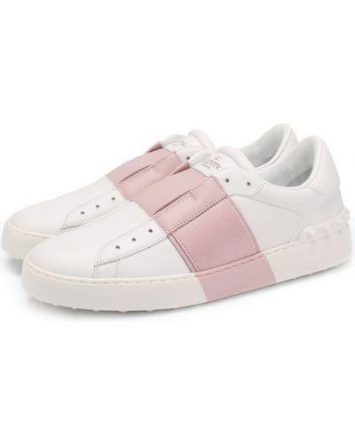 Розовые кожаные кеды Valentino