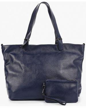 Кожаная сумка шоппер синий Mallanee