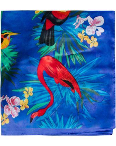 Niebieska szal w kwiaty Allora