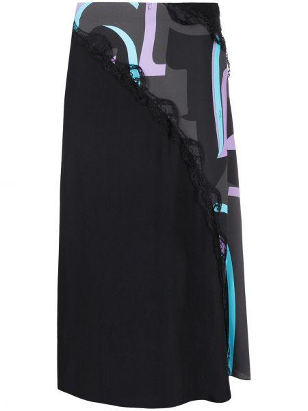 Черная ажурная с завышенной талией юбка миди с разрезом Emilio Pucci