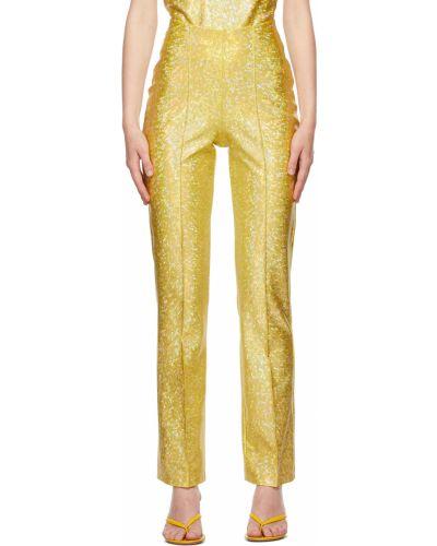 Żółte spodnie srebrne Saks Potts