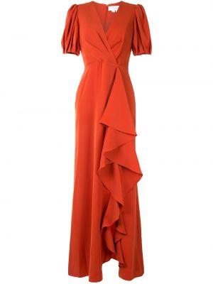 Оранжевое с рукавами платье мини с запахом Sachin & Babi