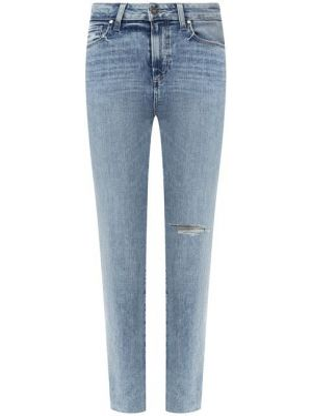 Укороченные джинсы синие с эффектом потертости Paige