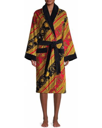 Szlafrok bawełniany z paskiem z długimi rękawami Versace