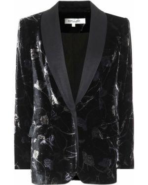 Классический пиджак черный бархатный Diane Von Furstenberg