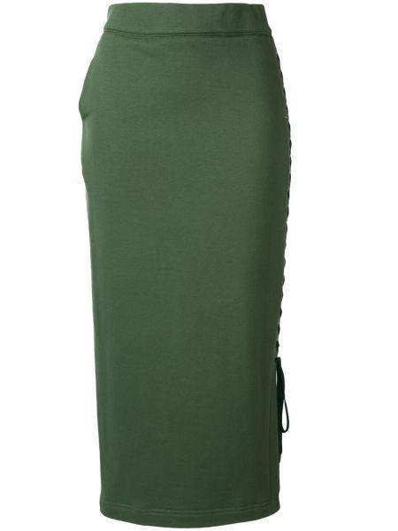 Зеленая ажурная с завышенной талией юбка миди в рубчик G.v.g.v.