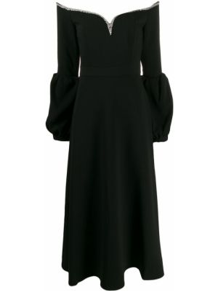 Платье миди с V-образным вырезом черное Self-portrait