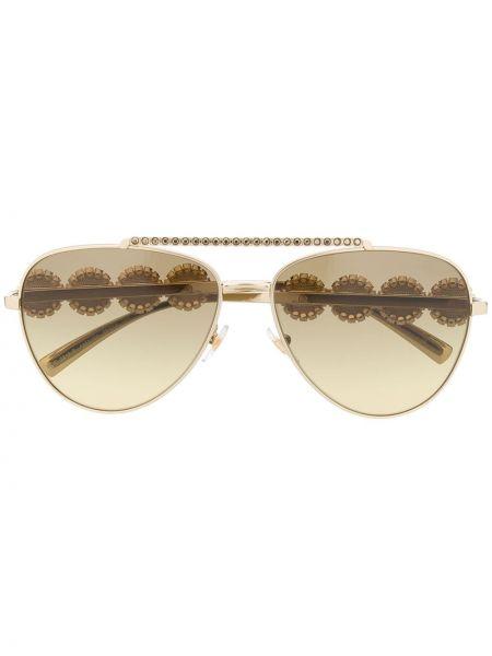 Золотистые прямые желтые солнцезащитные очки металлические Versace Eyewear