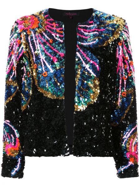 Черная нейлоновая куртка круглая с пайетками Manish Arora