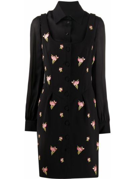 Шелковое черное платье макси с вышивкой Moschino