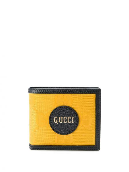 Skórzany żółty portfel z gniazdem z kieszeniami Gucci