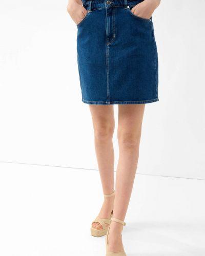 Niebieska spódnica mini zapinane na guziki bawełniana Orsay