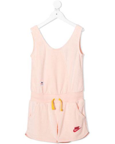 Розовый флисовый комбинезон с вырезом Nike Kids
