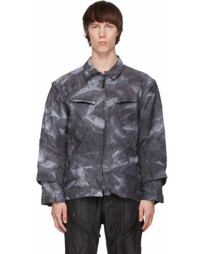 Niebieska długa kurtka z nylonu z długimi rękawami Blackmerle