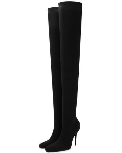 Кожаные сапоги на каблуке текстильные Balenciaga