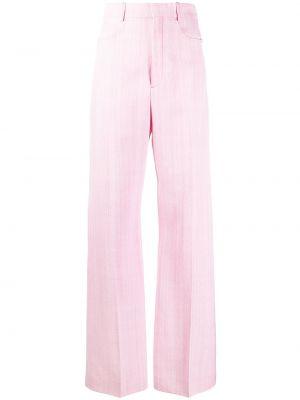 Spodnie z wysokim stanem z paskiem - różowe Jacquemus