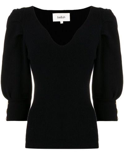 Шерстяной черный джемпер на пуговицах с V-образным вырезом Ba&sh