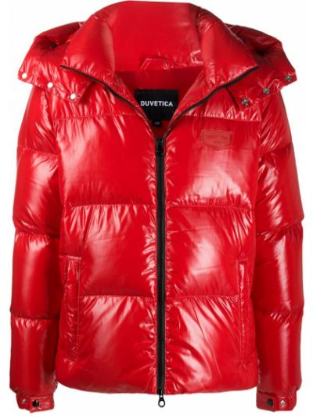 Классическая красная куртка с капюшоном с карманами с перьями Duvetica