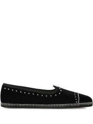 Markowe czarny skórzany loafers Giuseppe Zanotti
