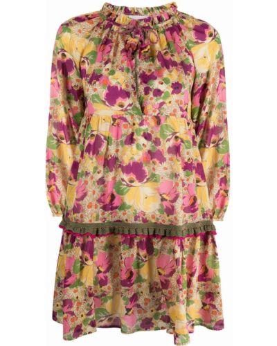 Пышное платье мини с разрезом в цветочный принт Anjuna