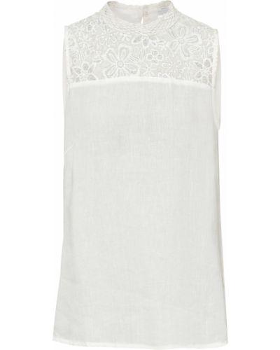 Кружевная белая блузка без рукавов Bonprix
