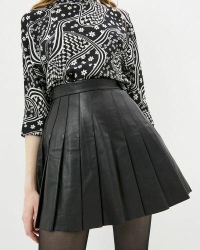 Черная кожаная юбка Maje