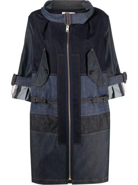 Синее длинное пальто на молнии с вырезом Junya Watanabe