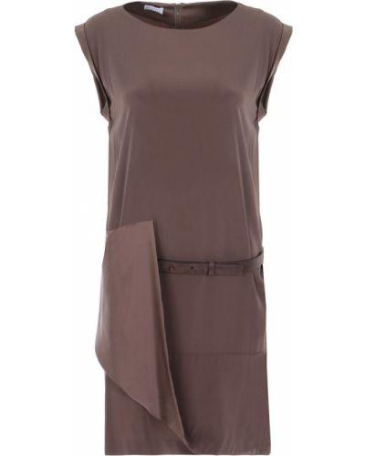 Шелковое с рукавами платье мини с поясом Brunello Cucinelli