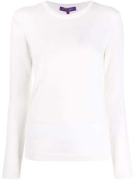 Приталенный кашемировый белый пуловер Ralph Lauren