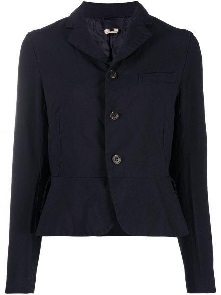 Однобортный черный удлиненный пиджак с карманами Comme Des Garçons Girl