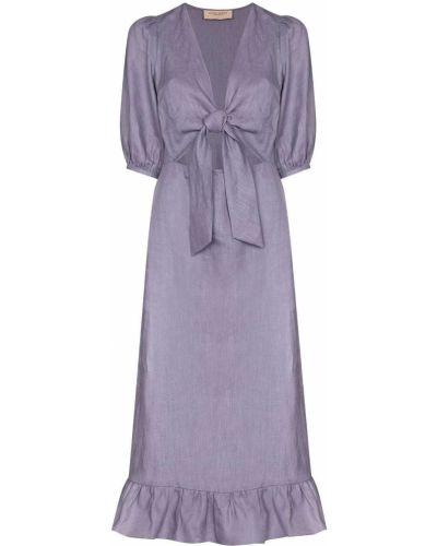 Фиолетовое платье миди с оборками с V-образным вырезом Adriana Degreas