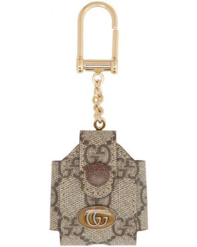Z paskiem skórzany brązowy etui na klucze Gucci