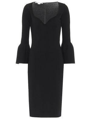 Черное платье миди из вискозы Stella Mccartney