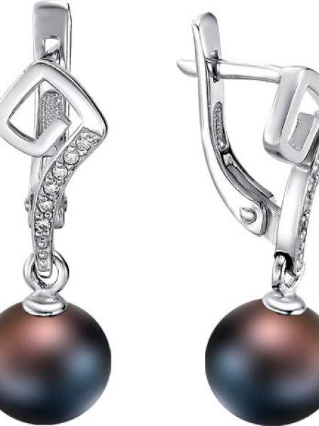Серьги с жемчугом с фианитом серебряные De Fleur