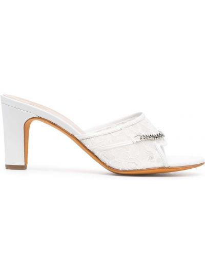 Białe sandały skorzane sznurowane Maryam Nassir Zadeh