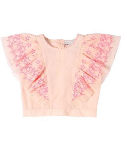 Różowa koszula bawełniana z haftem Stella Mccartney Kids