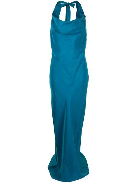 Синее вечернее платье с завязками с открытой спиной Ginger & Smart