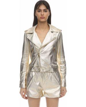 Кожаный пиджак с карманами золотой на кнопках Coco Cloude