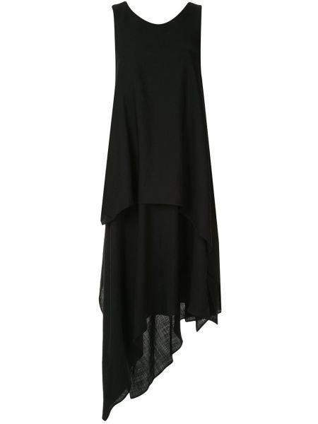 Черное платье миди без рукавов свободного кроя с вырезом Forme D'expression