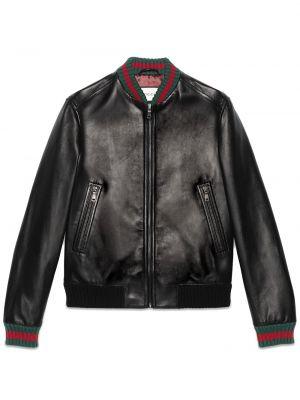 Кожаная черная спортивная куртка с декоративной отделкой с карманами Gucci