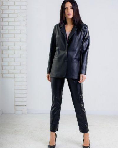 Кожаный пиджак - черный Rozetka