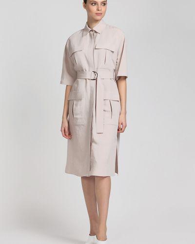 Платье с поясом сафари платье-рубашка Vassa&co