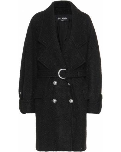 Черное шерстяное зимнее пальто Balmain