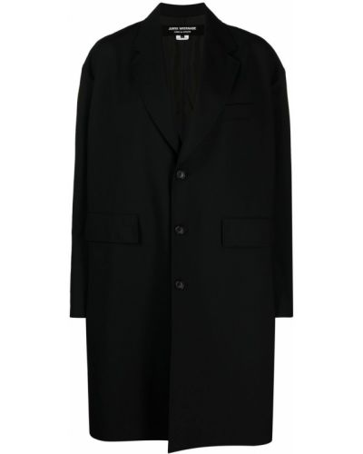 Однобортное шерстяное черное длинное пальто Junya Watanabe